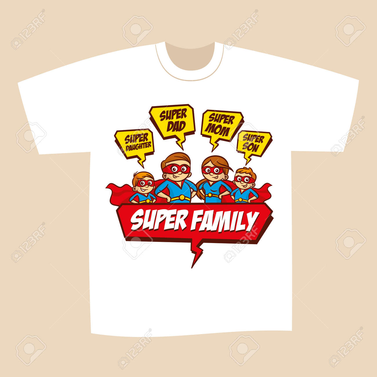473d4725 T-shirt Print Design Superheroes Family Royalty Free Cliparts ...