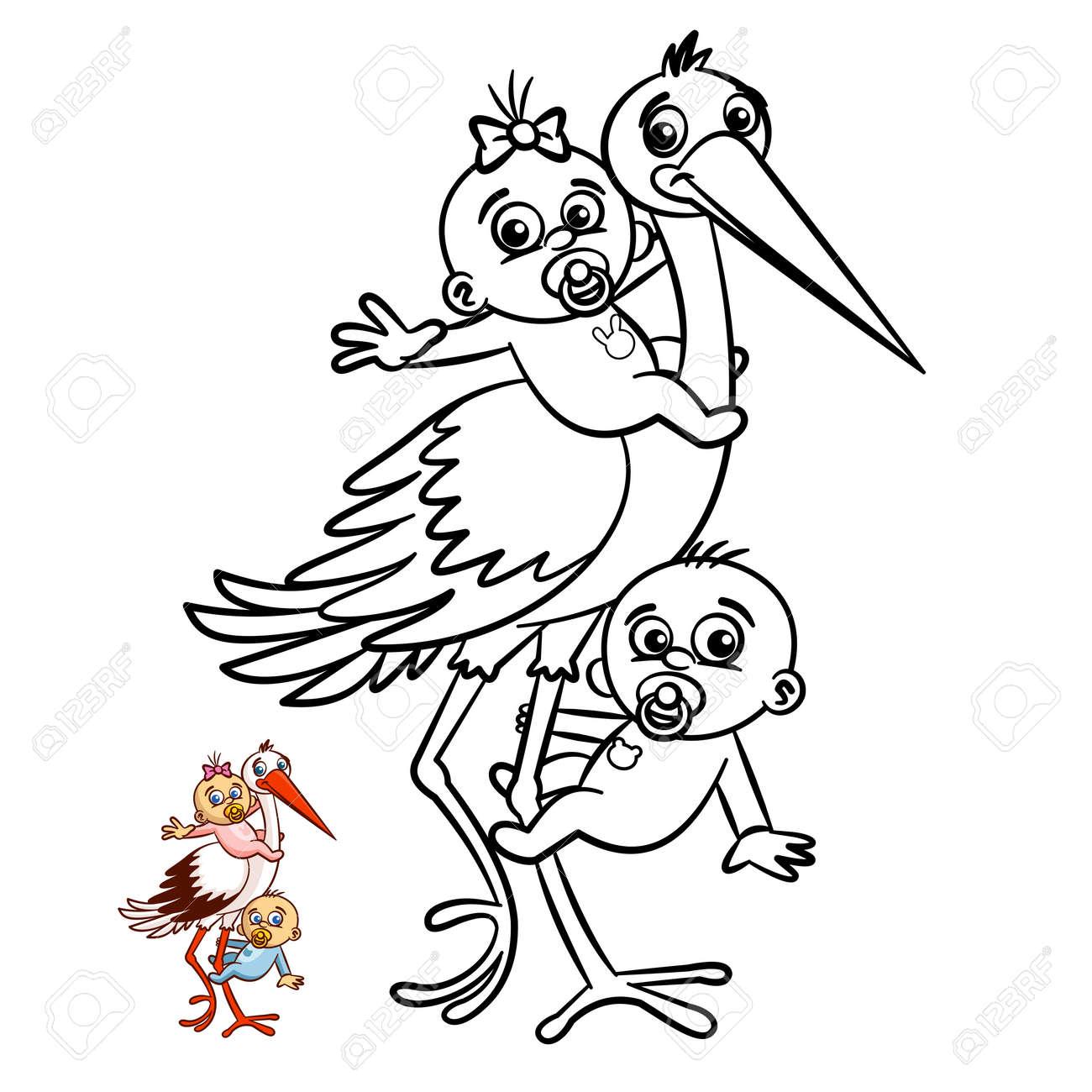 Cigüeña Con Bebés Niño Y Niña Para Colorear. Personaje Cómico ...