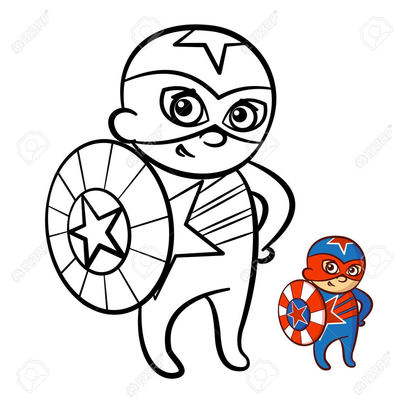 Illustration Of A Happy Superhero Boy Coloring Book. Comic Character ...