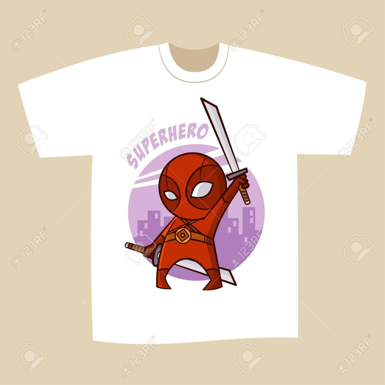 e0b27fc4 T-shirt White Print Design Superhero Ninja Vector Illustration Stock Vector  - 75843631