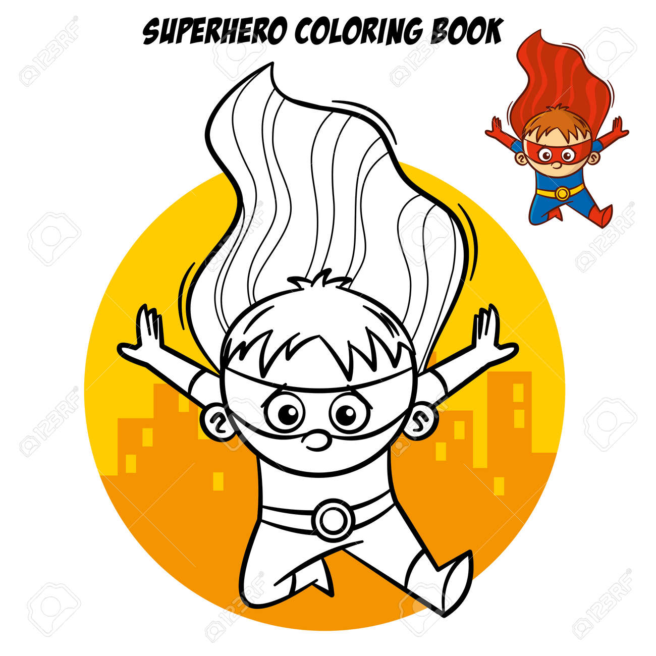 Superhero Coloring Book Comic Character Isolated On White Background Vector Illustration Stock