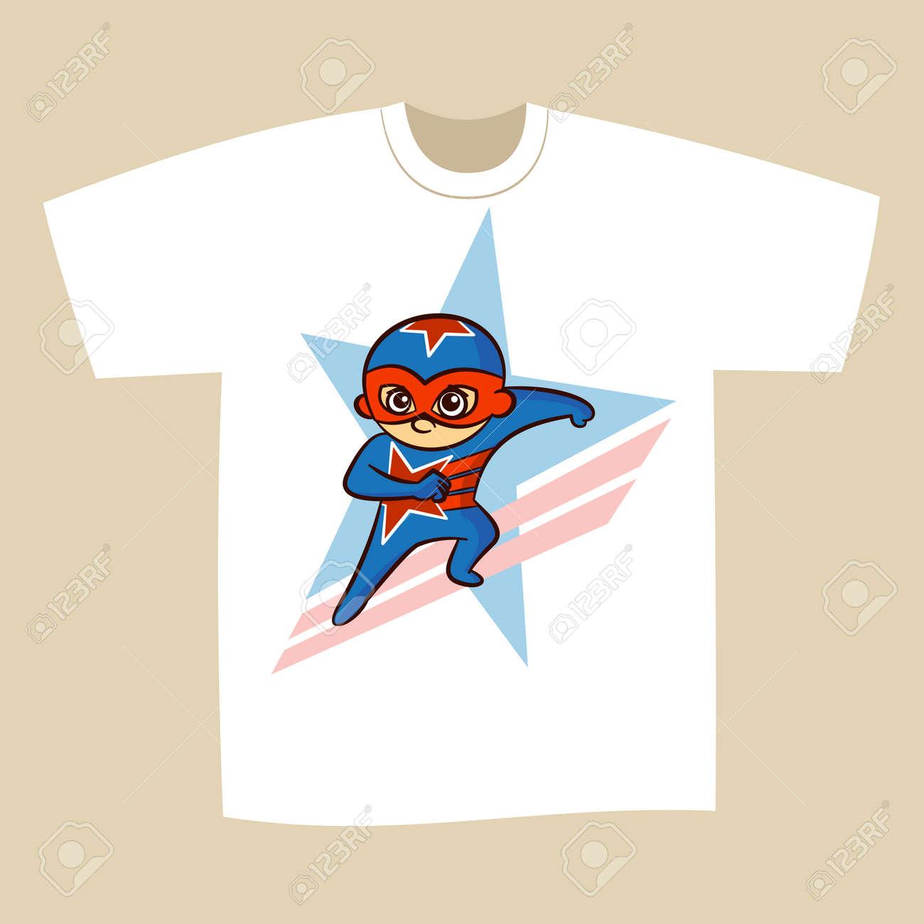 0644997d T-shirt Print Design Cartoon Superhero Vector Illustration Stock Vector -  78757639