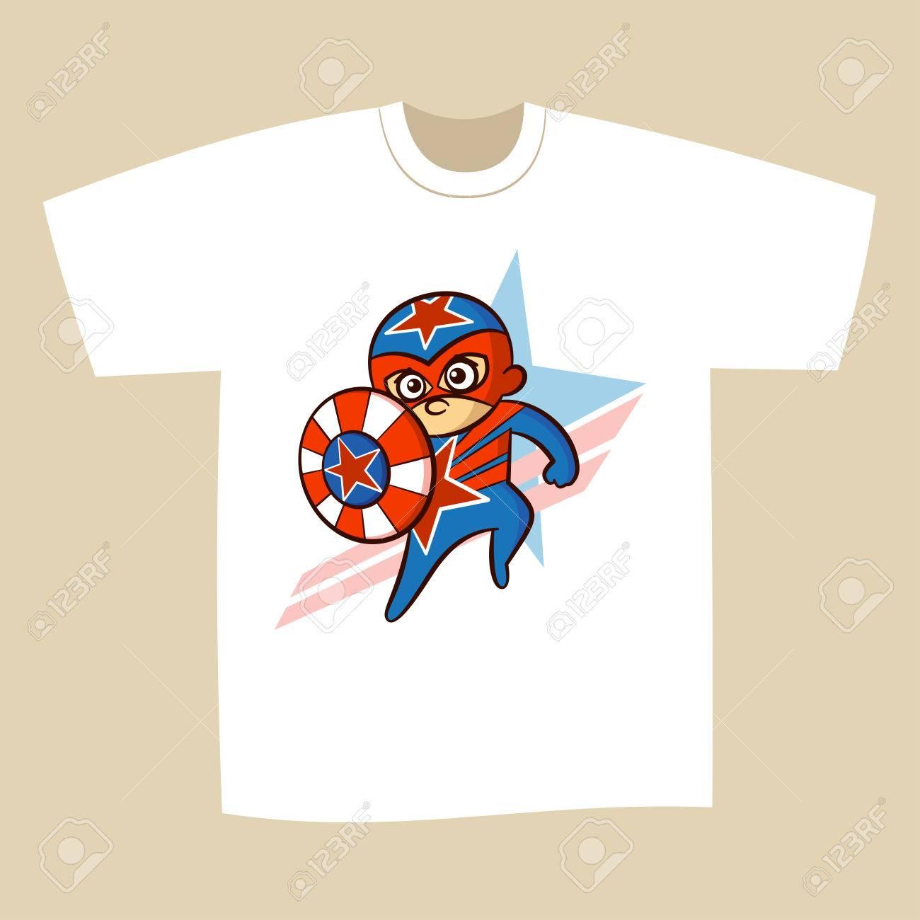 75c476fe T-shirt Print Design Cartoon Superhero Vector Illustration Stock Vector -  78678032