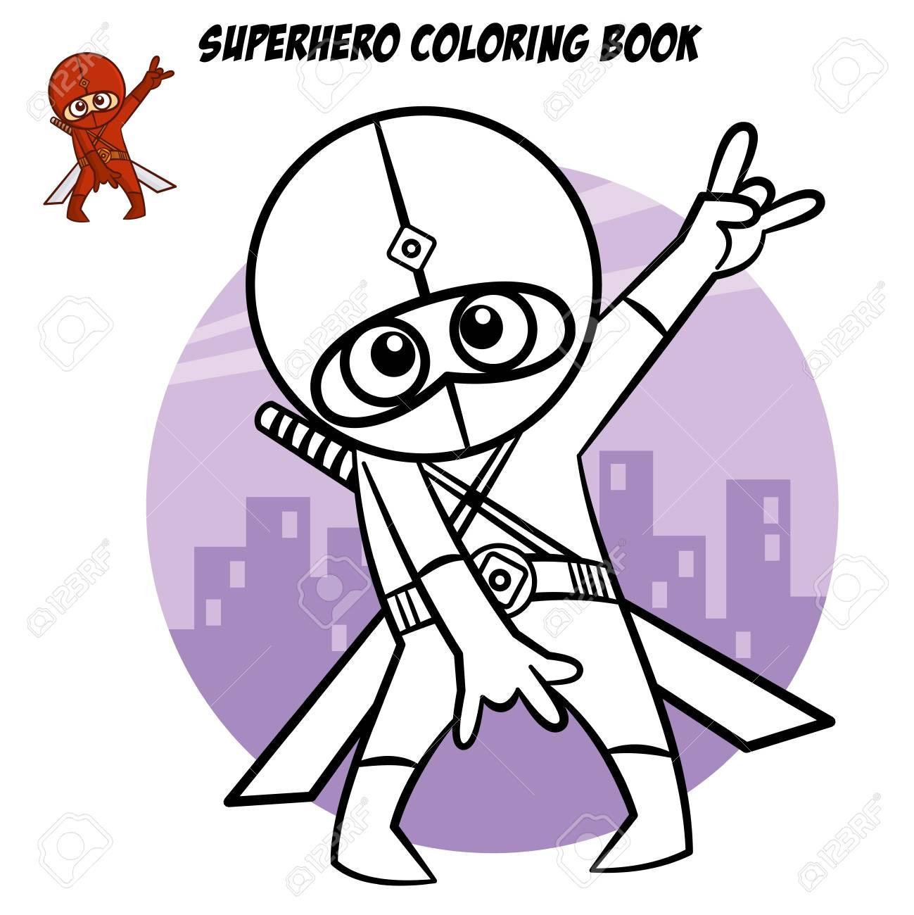 Libro Para Colorear De Superhéroes. Personaje Cómico Aislado Sobre ...