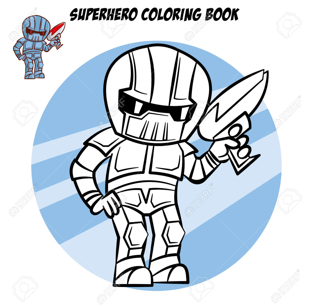 Superhero Coloring Book. Comic Character Isolated On White ...