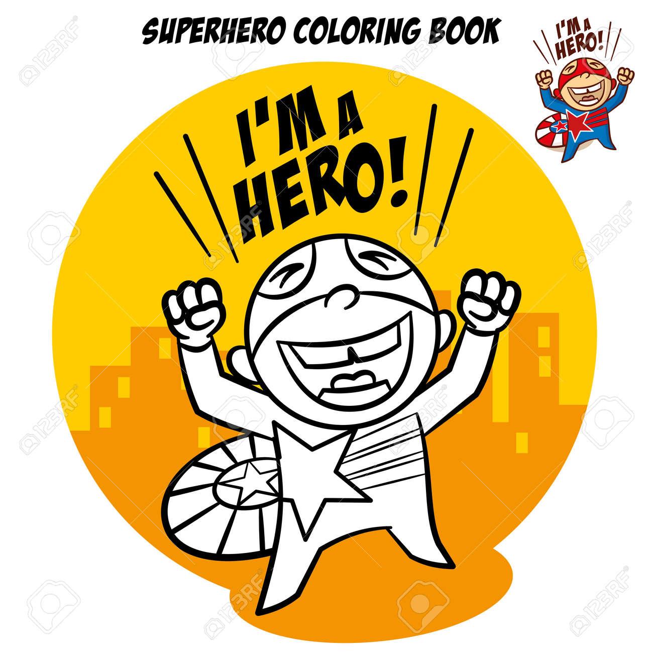 Superheld Malbuch. Comic Zeichen Isoliert Auf Weißem Hintergrund ...