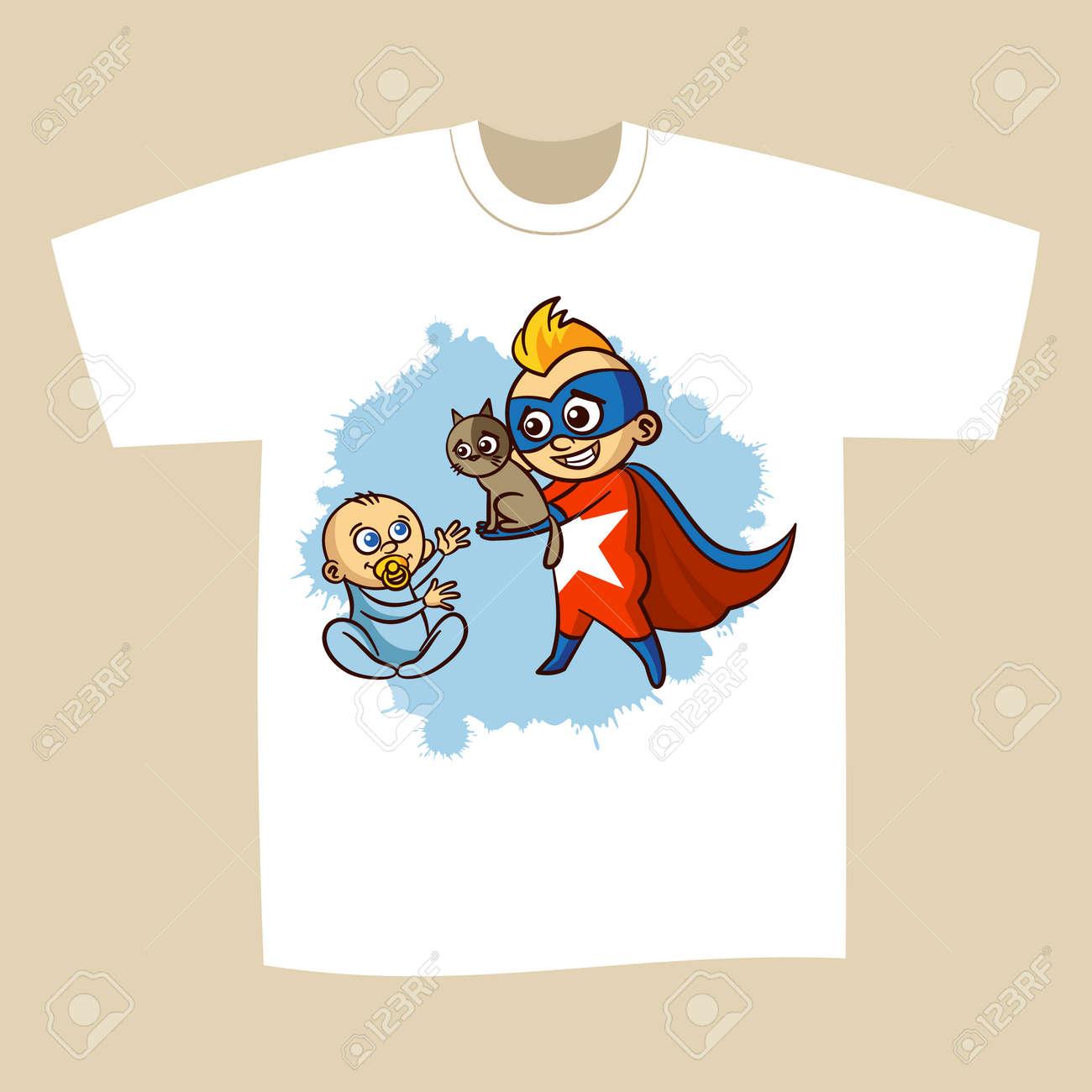 929fe673 T-shirt Print Design Superhero Vector Illustration Stock Vector - 80905494