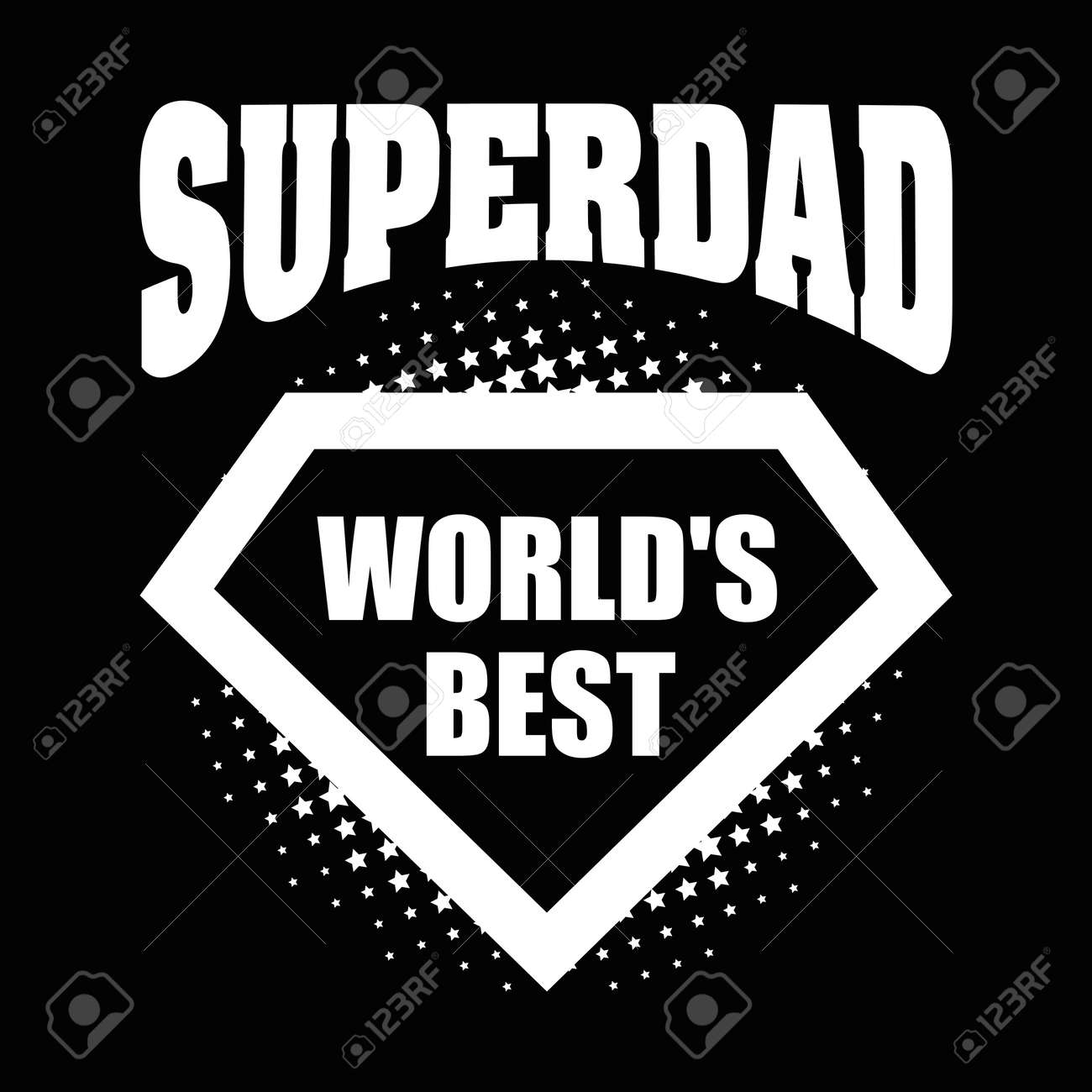 Superdad Logo Superhero Worlds Best Vector Illustration T Shirt Stock
