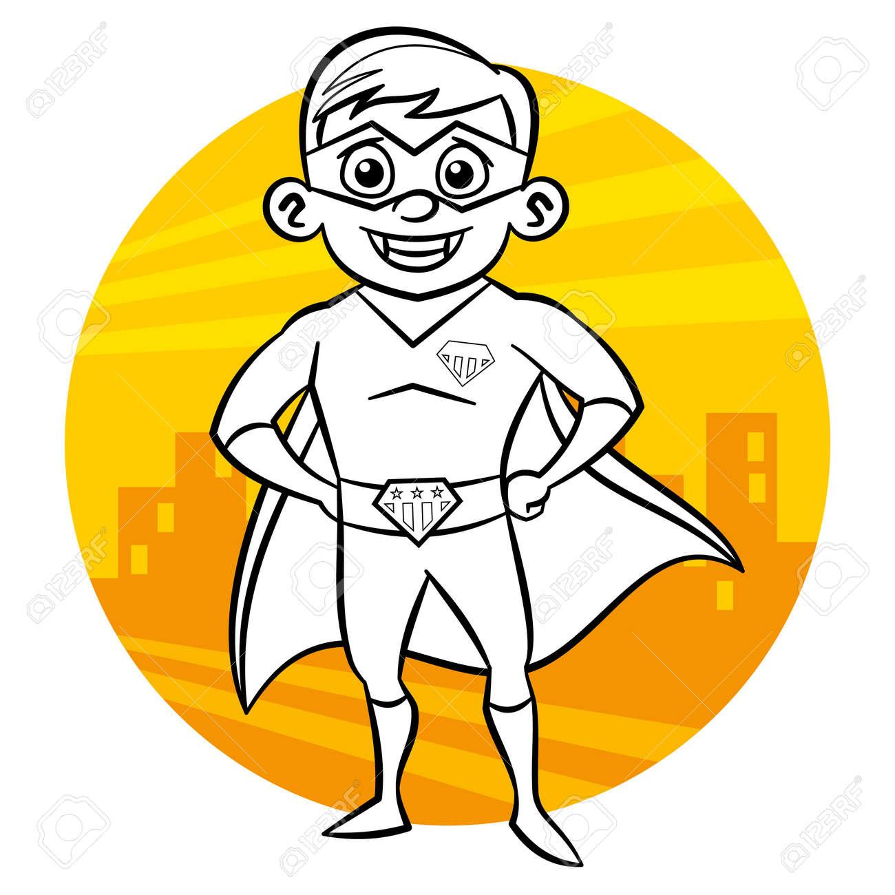Colorear Superhéroe Página. Personaje De Cómic Aislado Sobre Fondo ...