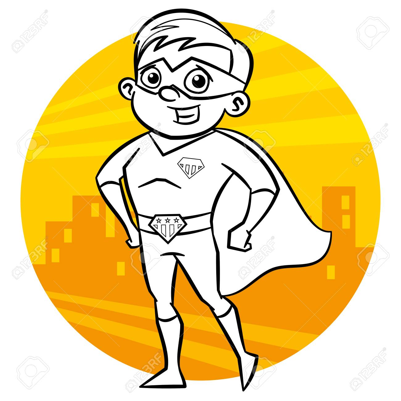 Superhero Coloring Page Comic Character Isolated On White Background