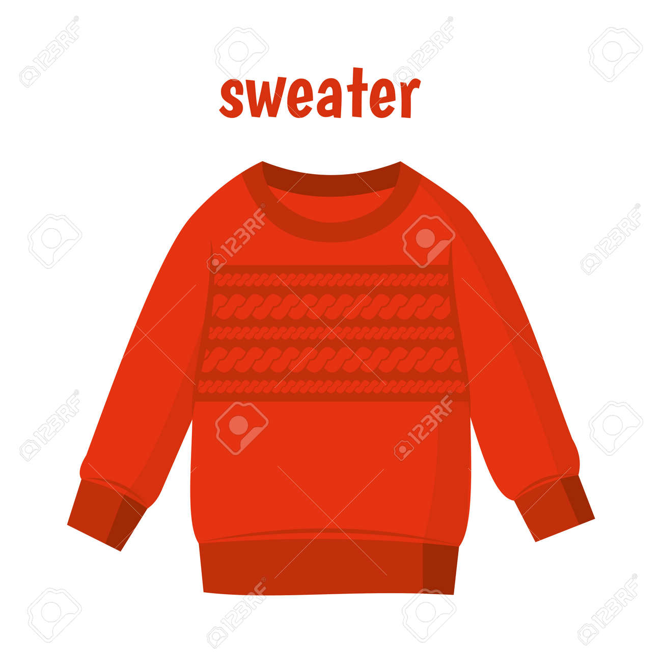 Red sweater vector illustration isolated on white background