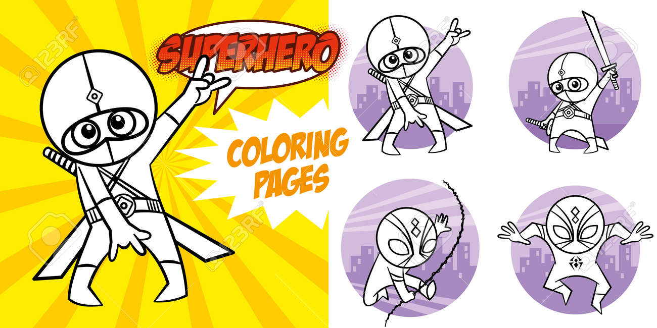 Superhero Coloring Book. Comic character Vector Illustration