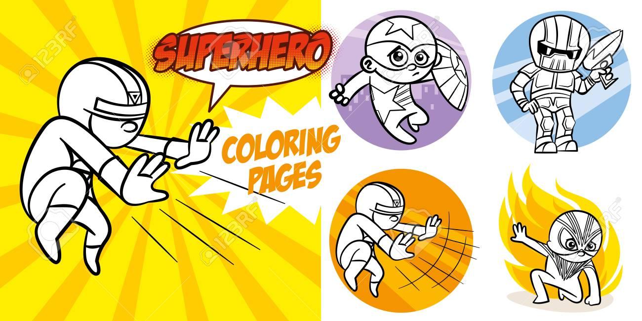 Superhero Coloring Book. Comic Character Vector Illustration ...