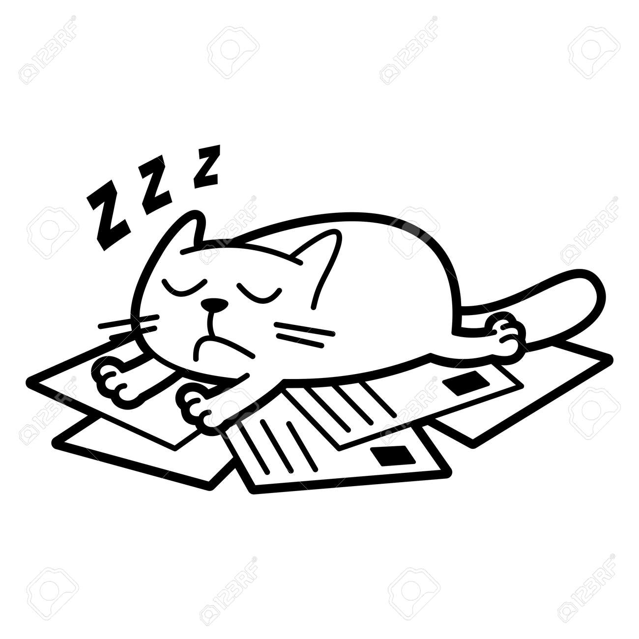 Cat Cartoon Character Coloring Page Black And White Vector ...