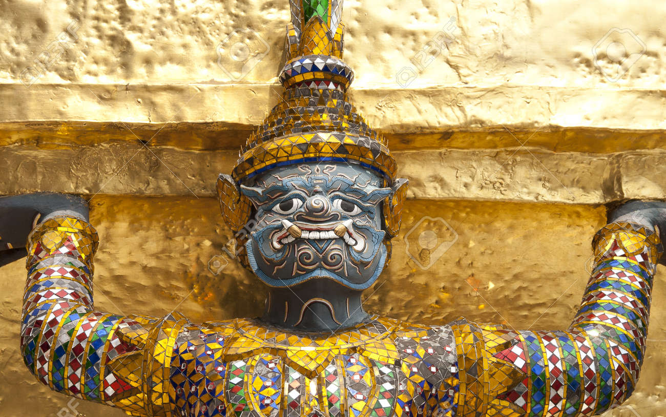 A legend giant decorated at the golden pagoda basement in the grand palace, bangkok Thailand Stock Photo - 12573222