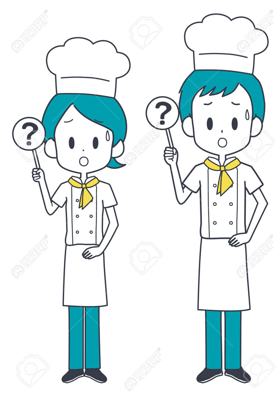Illustration of a chef holding a question tag. - 167720934