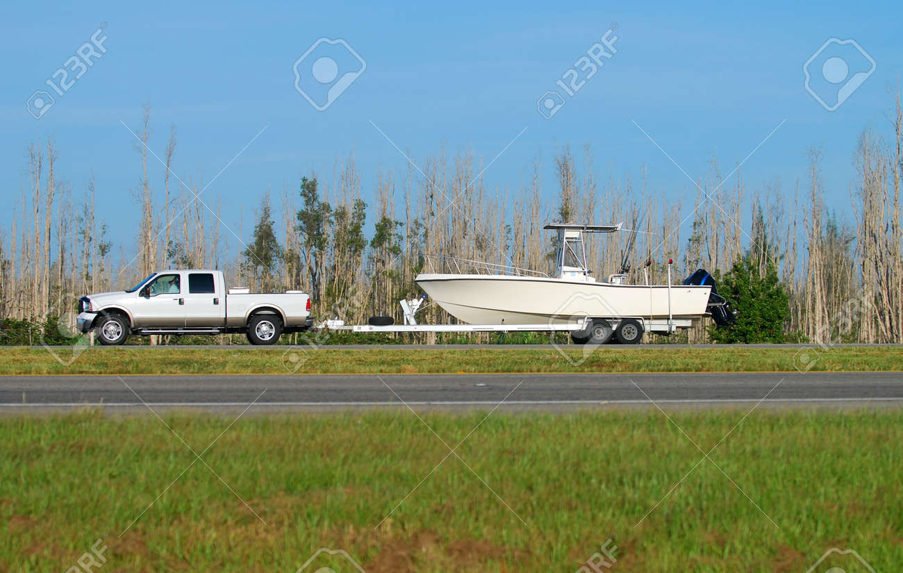 Truck towing boat Stock Photo - 1779493
