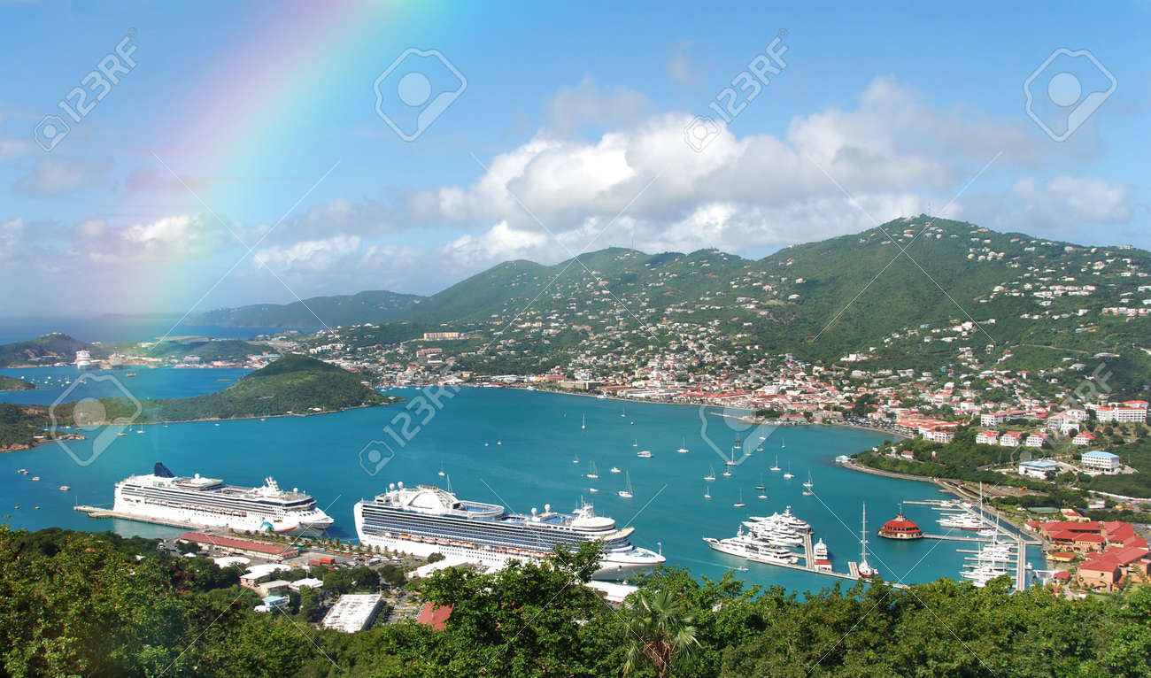 aerial view and rainbow over st thomas us virgin islands stock rh 123rf com st thomas us virgin islands golf st thomas us virgin islands cruise port