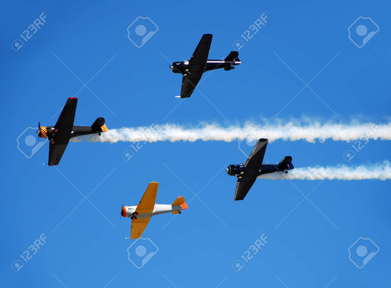Formation of world war 2 airplanes passing overhead Stock Photo - 4349556