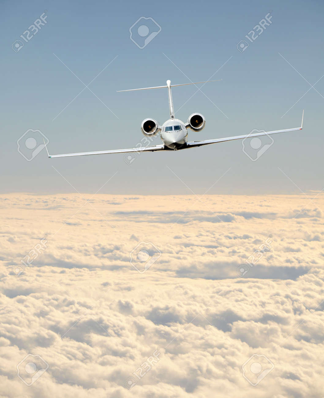 Luxury business jet in flight front view Stock Photo - 6357044