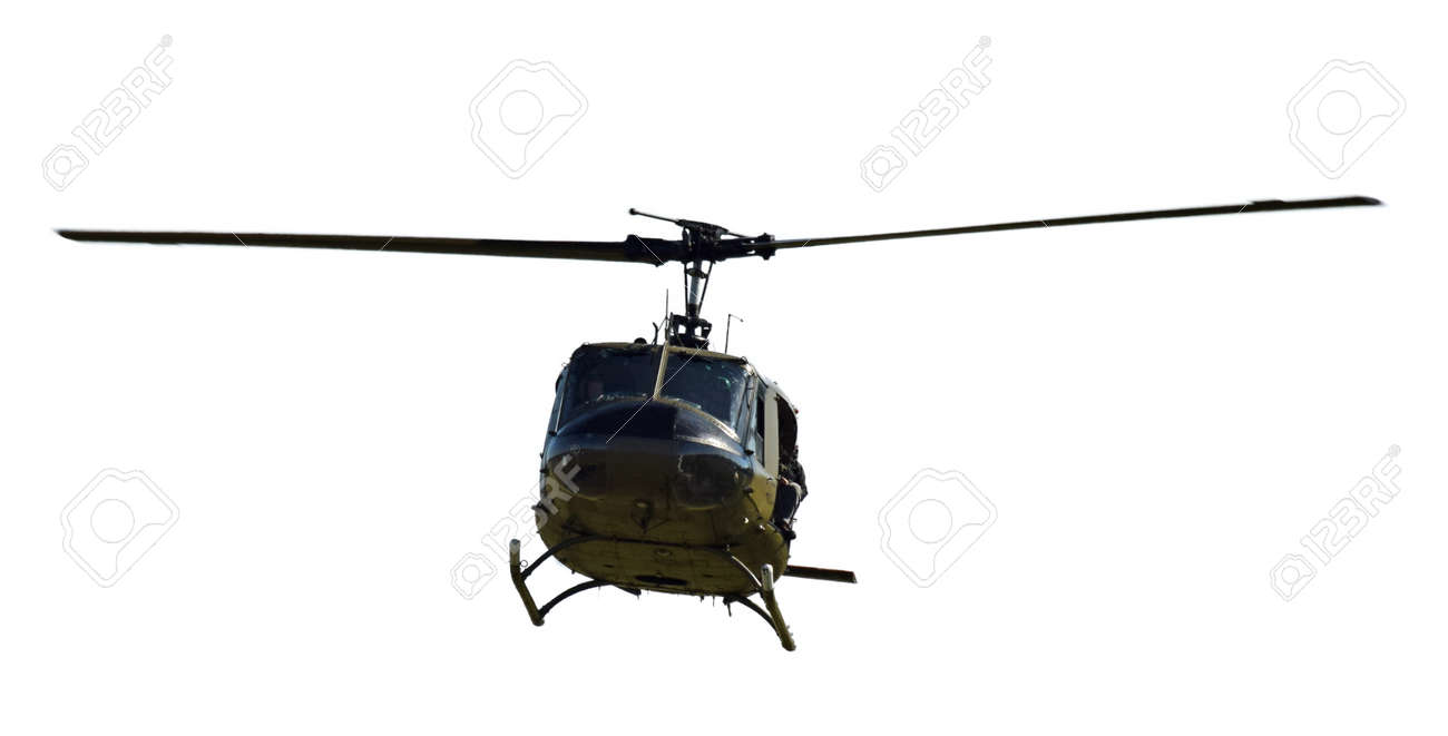 Front view of Vietnam War era helicopter isolated on white