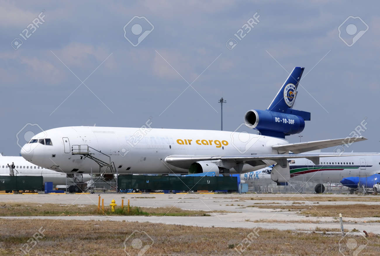 Miami, USA - March 20, 2011: Retired DC-10 cargo jet parked to