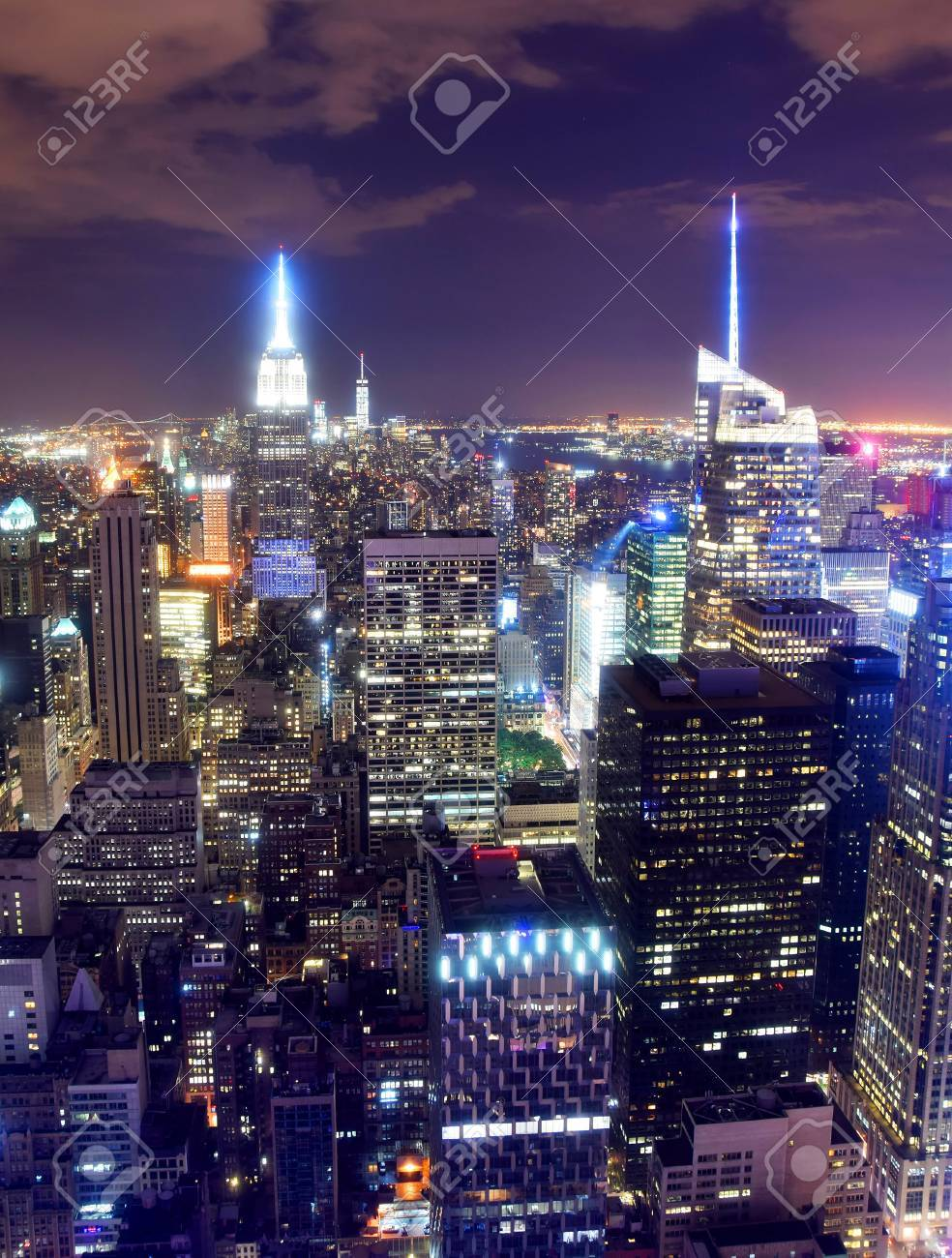 Nighttime New York City Skyline From Above Stock Photo Picture And Royalty Free Image Image 43590934