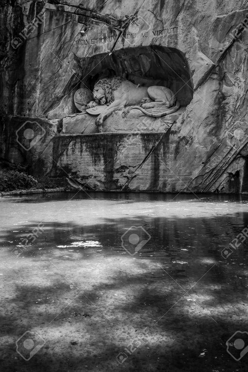 Lucerne switzerland june 3 2017 the black and white photo of lowendenkmal