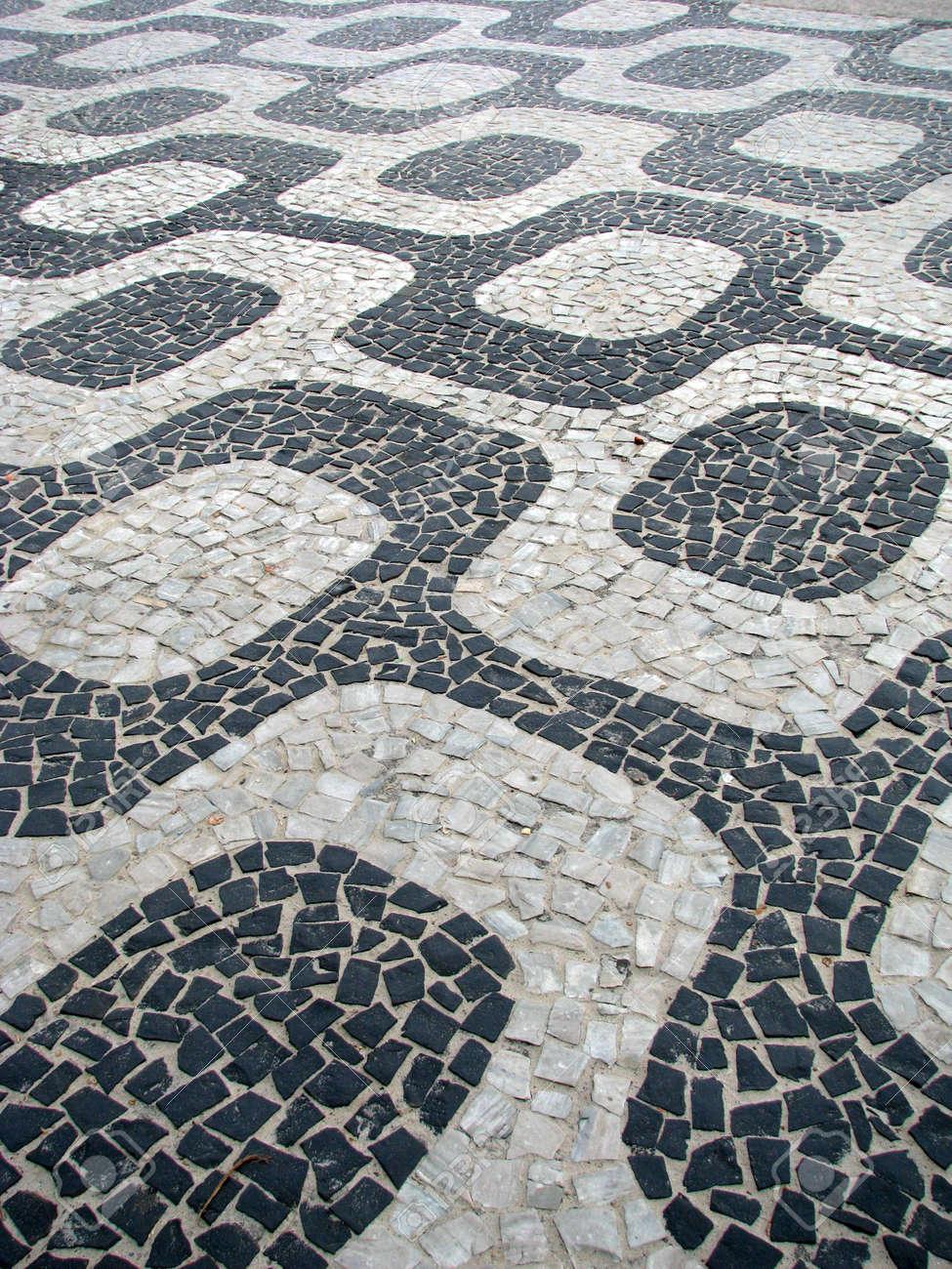 playa de ipanema seawalk famosa piedra de suelos de baldosas ro de janeiro brasil