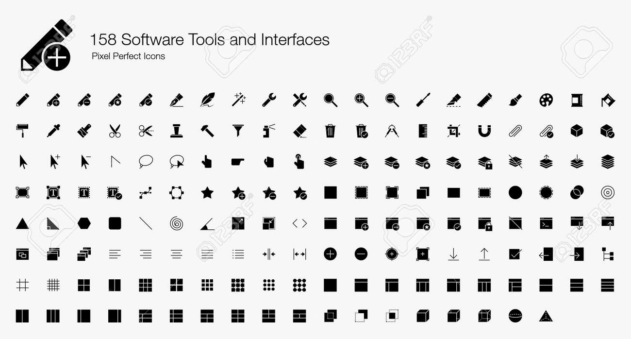 158 Software Tools and Interfaces Pixel Perfect Icons (Filled Style). Vector icons set for software development and user interfaces designs. - 122821081