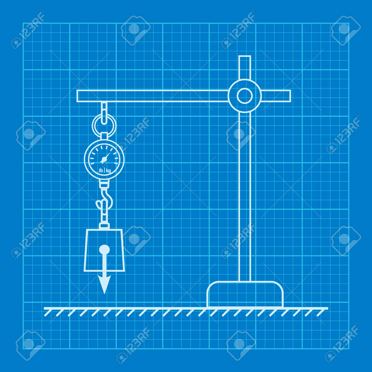 Loaded dynamometer scale physics blueprint royalty free cliparts loaded dynamometer scale physics blueprint stock vector 44024272 malvernweather Image collections