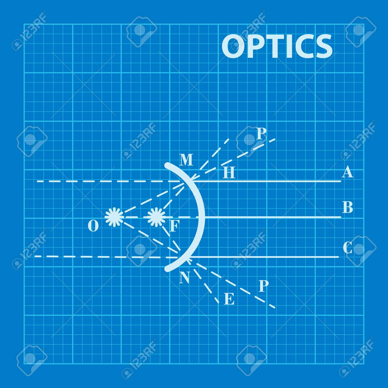Infographic physics geometrical optics on blueprint background geometrical optics on blueprint background vector illustration stock vector 44024182 malvernweather Choice Image