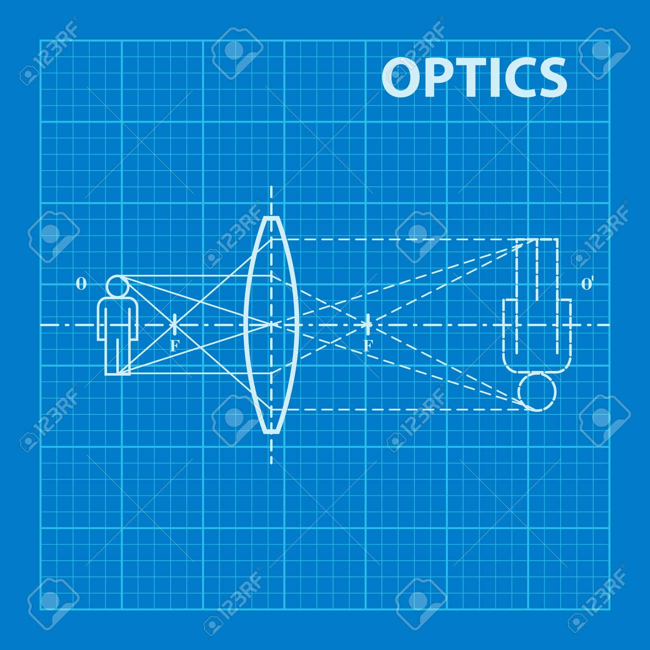 Infographic physics geometrical optics on blueprint background geometrical optics on blueprint background vector illustration stock vector 44024188 malvernweather Choice Image