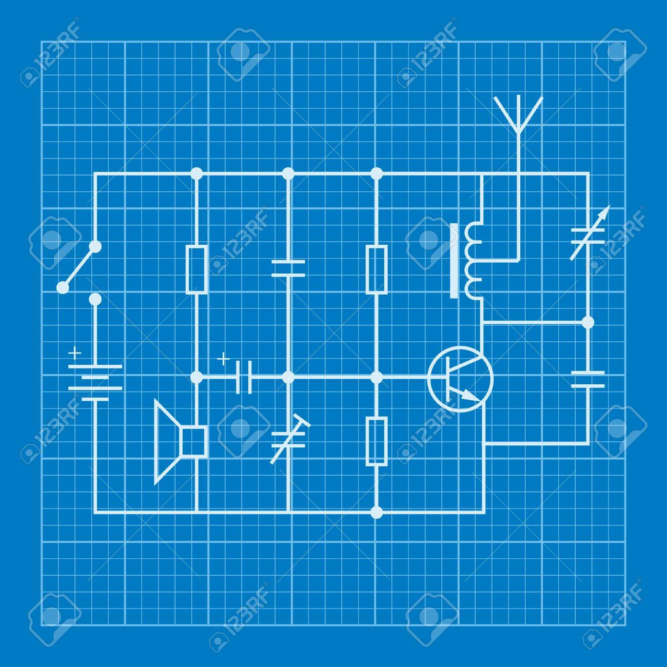 Electronic Circuit Scheme Blueprint Background Royalty Free Cliparts ...