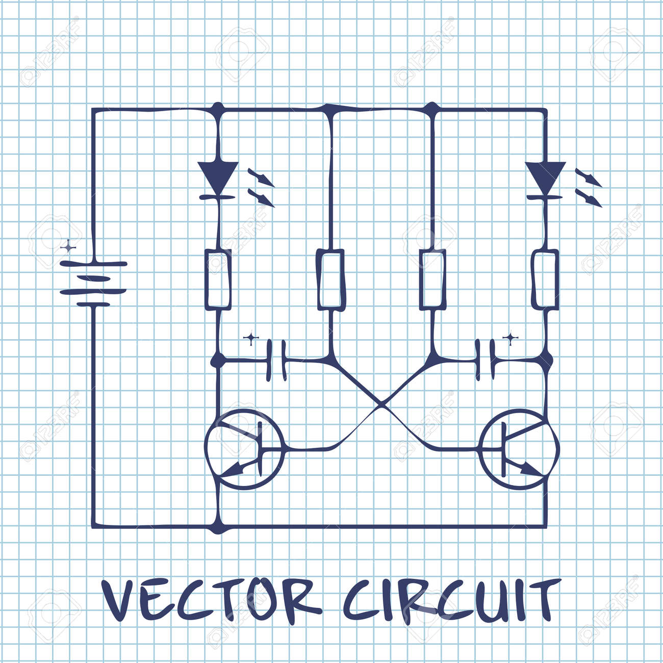 Electronic Circuit Scheme On White Squared Paper Sheet Background ...