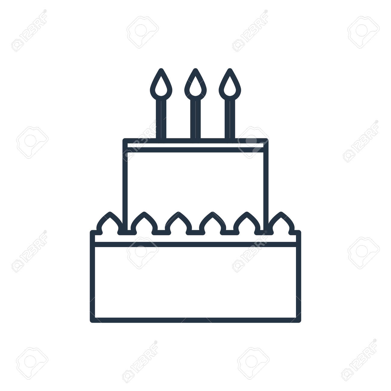 Vector Birthday Cake Outline Icon Food Symbol Royalty Free Cliparts