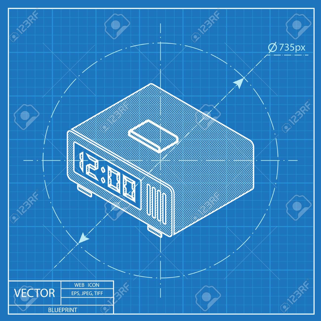 Digital alarm clock isometric 3d blueprint icon royalty free digital alarm clock isometric 3d blueprint icon stock vector 54116568 malvernweather Gallery