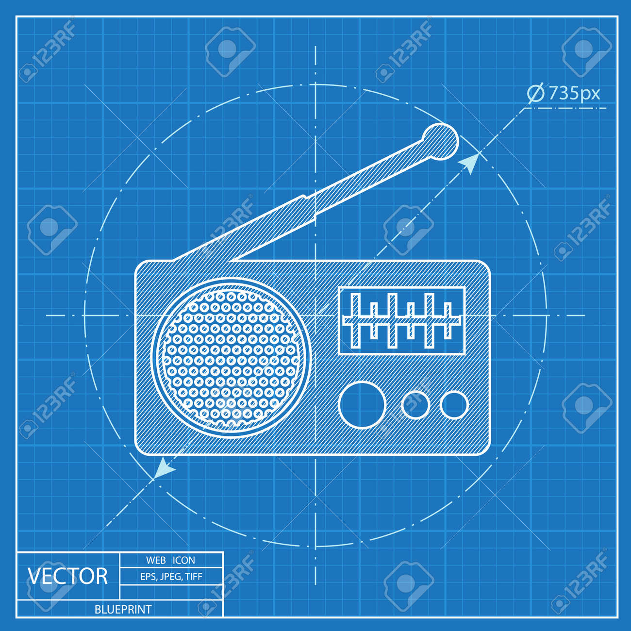 Radio vector blueprint icon royalty free cliparts vectors and radio vector blueprint icon stock vector 54207049 malvernweather Image collections