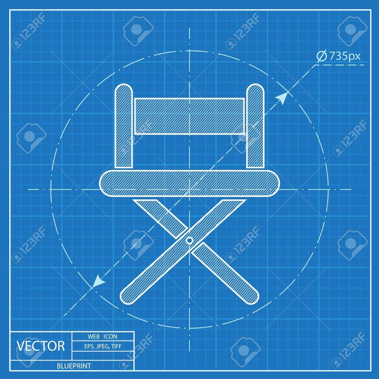 vector illustration of cinema director chair blueprint icon royalty