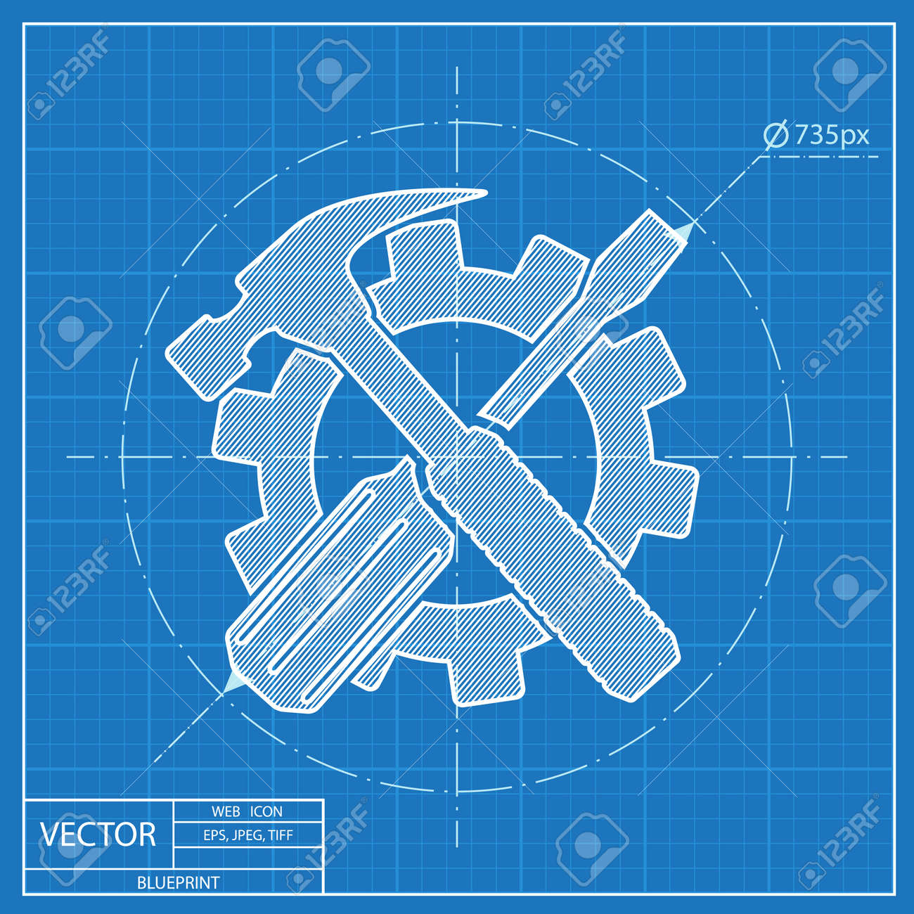 Crossed screwdriver and hammer tools vector blueprint icon royalty crossed screwdriver and hammer tools vector blueprint icon stock vector 54272967 malvernweather Image collections