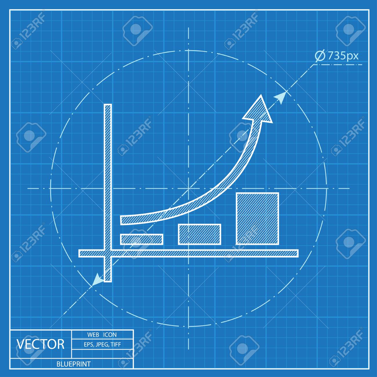 Growing bars graphic blueprint icon with rising arrow royalty free growing bars graphic blueprint icon with rising arrow stock vector 54273019 malvernweather Gallery