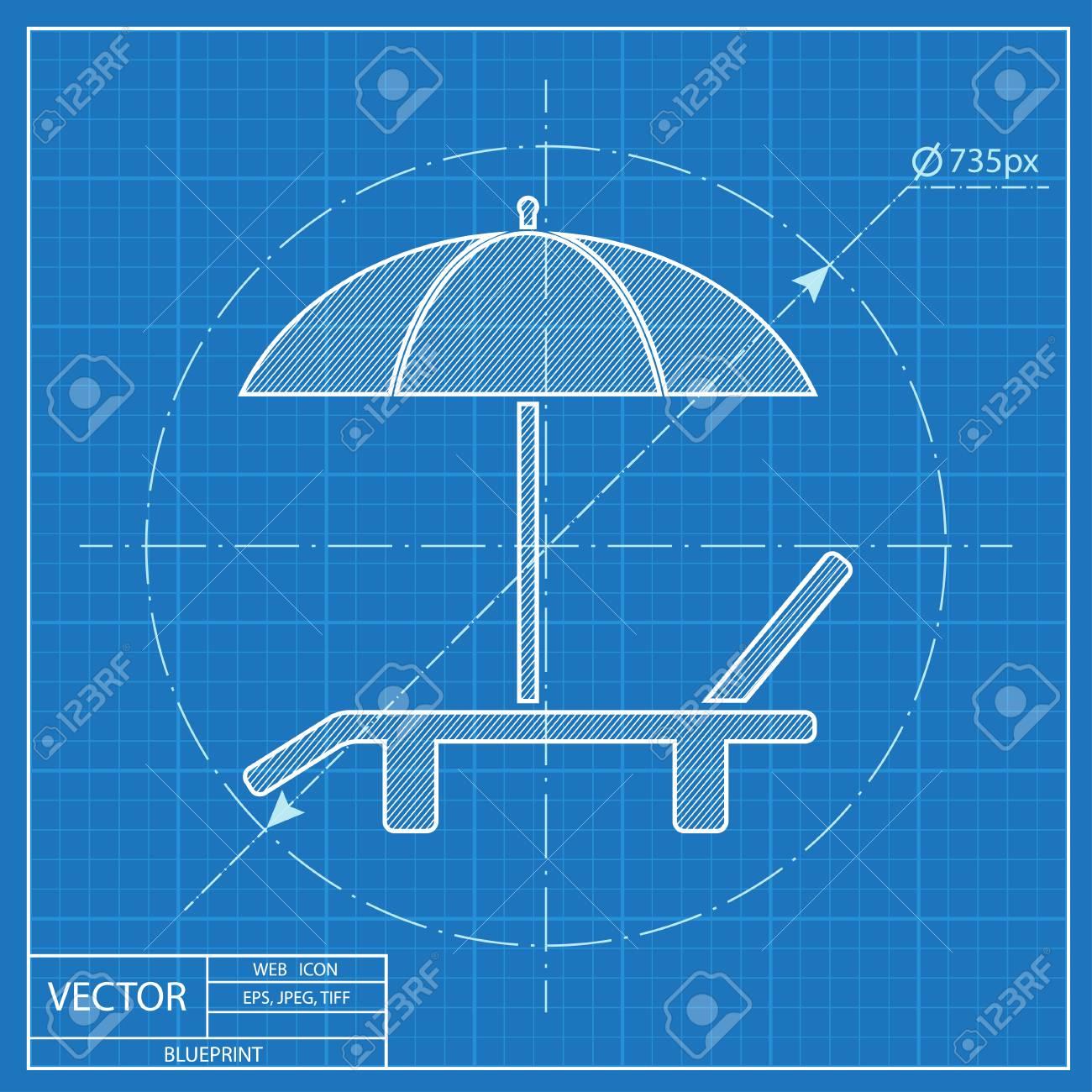 beach vector blueprint icon umbrella with deck chair royalty free