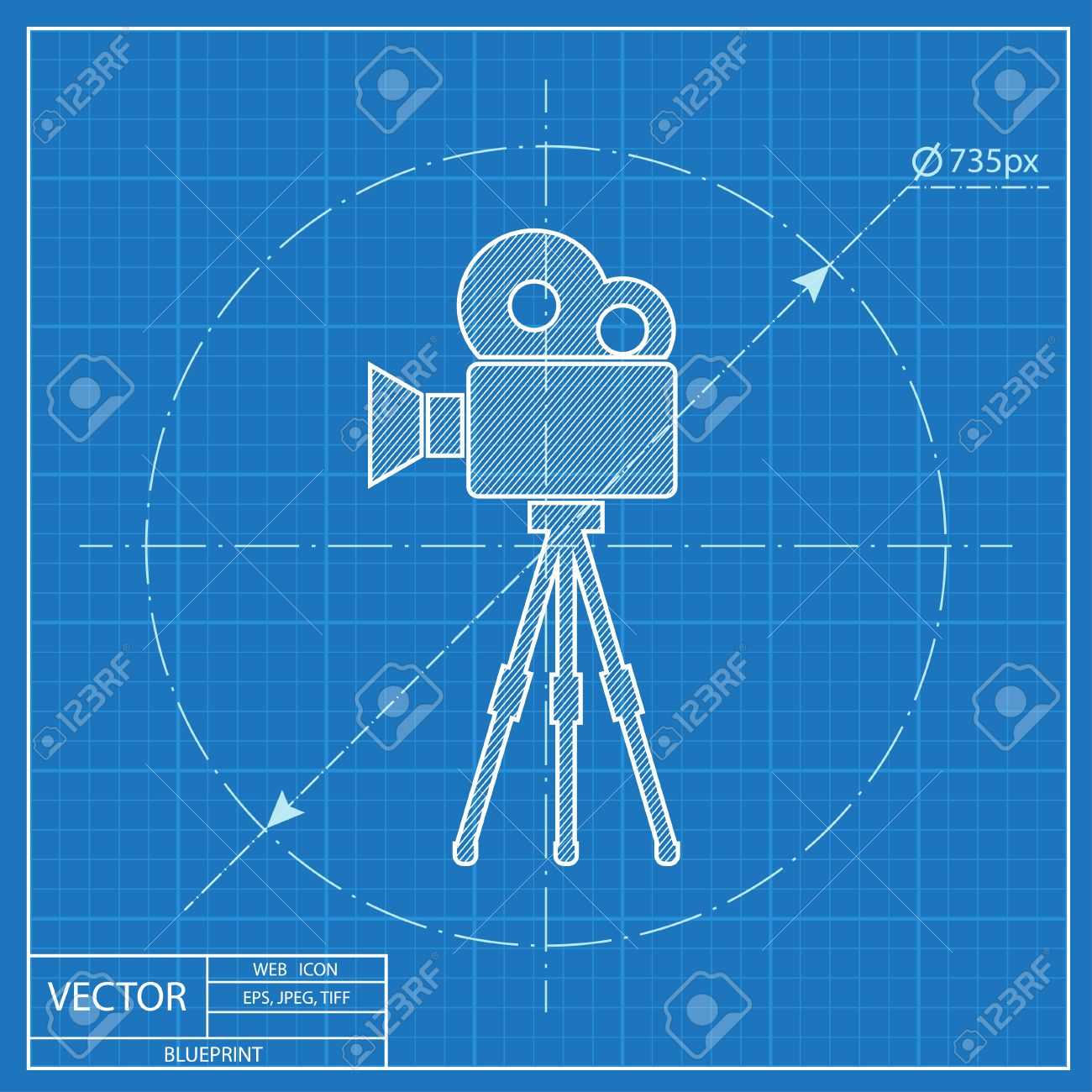 Movie camera on tripod blueprint icon royalty free cliparts movie camera on tripod blueprint icon stock vector 54273119 malvernweather Image collections