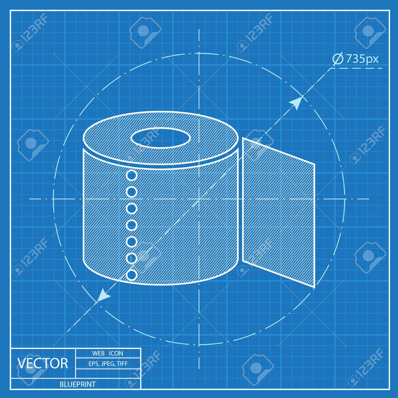 Toilet paper blueprint icon royalty free cliparts vectors and toilet paper blueprint icon stock vector 54273188 malvernweather Images