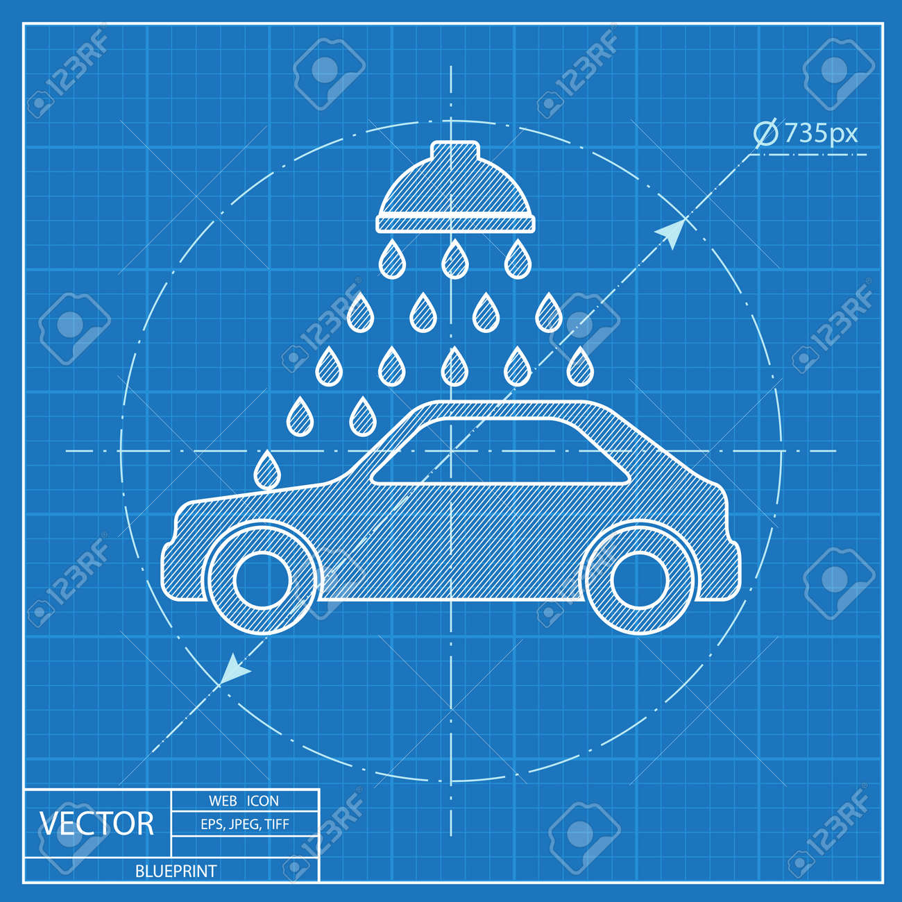 Vector icon of car wash blueprint style royalty free cliparts vector vector icon of car wash blueprint style malvernweather Gallery