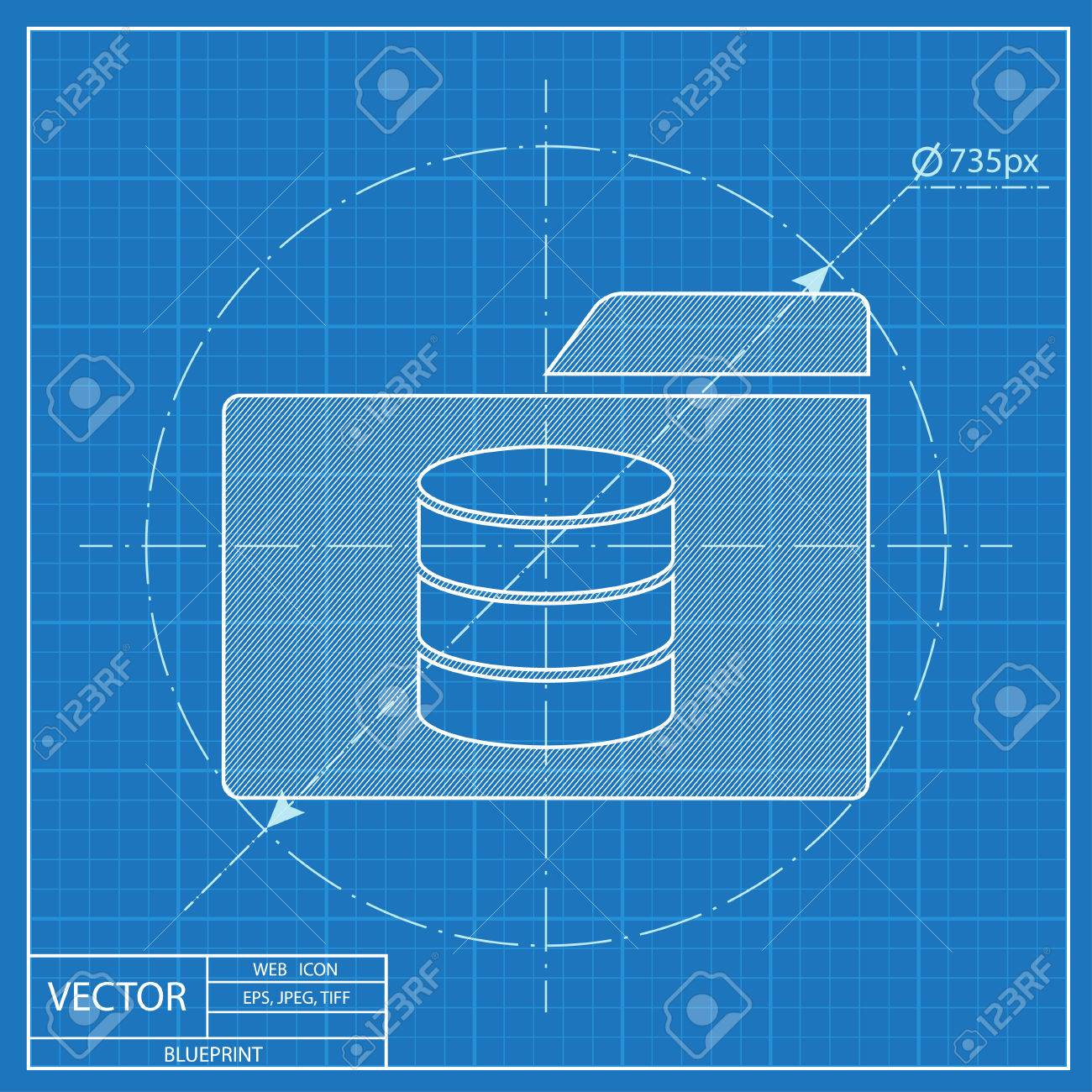Fantastic blueprint database contemporary electrical and wiring database folder blueprint style royalty free cliparts vectors malvernweather Gallery
