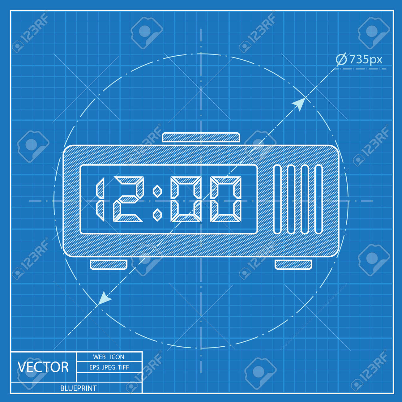 Alarm clock icon blueprint style royalty free cliparts vectors alarm clock icon blueprint style stock vector 55573670 malvernweather Image collections