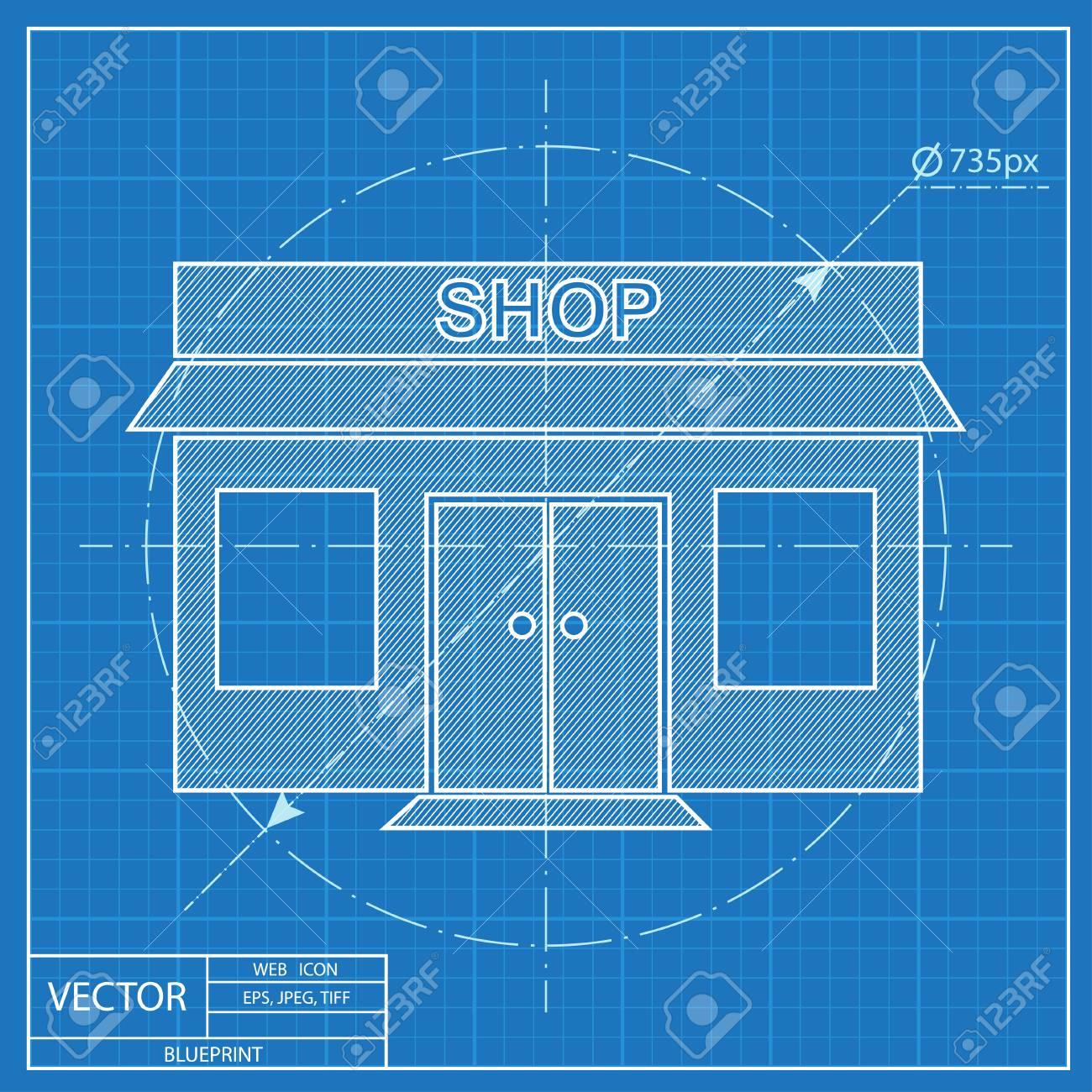 Shop icon blueprint style royalty free cliparts vectors and stock shop icon blueprint style stock vector 55573789 malvernweather Choice Image