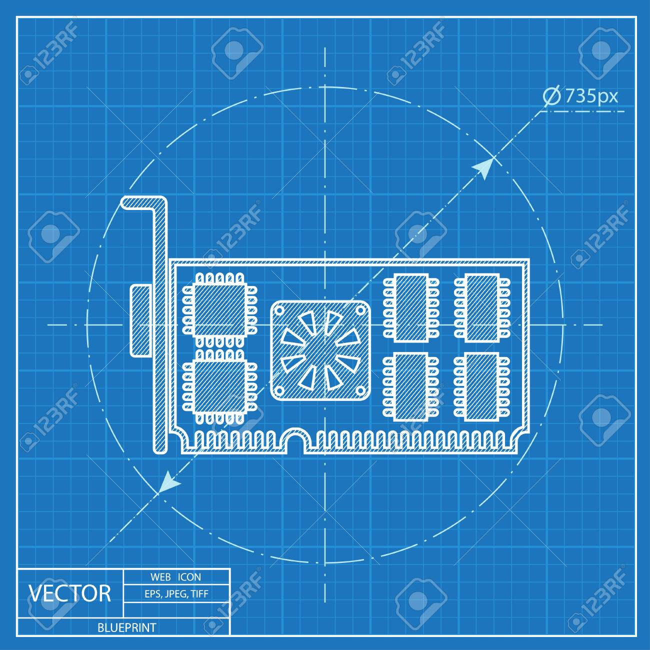 Blueprint icon of computer video card royalty free cliparts vectors blueprint icon of computer video card stock vector 55574183 malvernweather Choice Image