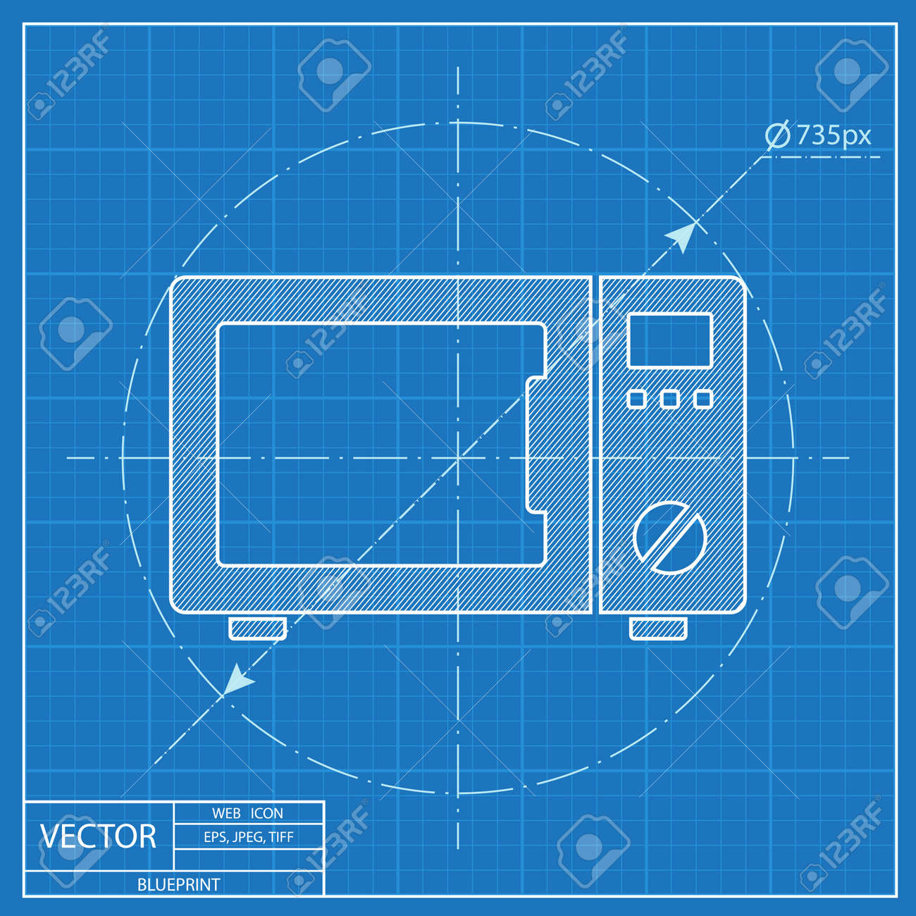 Blueprint Icon Of Microwave Oven Royalty Free Cliparts, Vectors, And ...